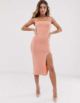 Asos Design DESIGN going out 90's halter bodycon midi dress-Pink