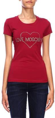 Love Moschino Short-sleeved T-shirt With Maxi Logo And Rhinestone Heart