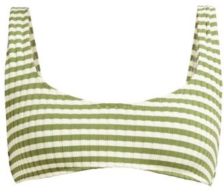 Solid & Striped The Elle Ribbed-knit Bikini Top - Womens - Green Stripe