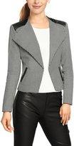 Allegra K Women's Houndstooth Pattern PU Panel Blazer Jacket XS Black White