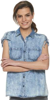 Rock & Republic Women's Ruched Sleeve Button Down Top