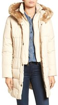 Larry Levine Women's Quilted Down & Feather Fill Coat With Faux Fur Trim Hood