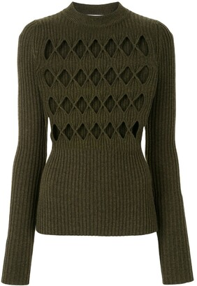 Victoria Beckham Cut-Out Detail Rib-Knit Jumper