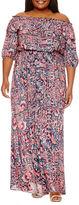 Boutique + + 3/4 Sleeve Maxi Dress-Plus