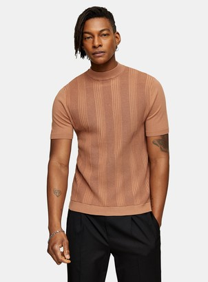 Topman Brown Stitch Turtle Neck Knitted T-Shirt
