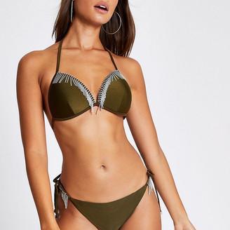 River Island Khaki diamante tassel triangle bikini top