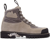 Off-White Grey Suede & Velvet Trimmed Hiking Boots