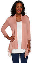 LOGO by Lori Goldstein Regular Knit Cardigan w/Pleated Chiffon