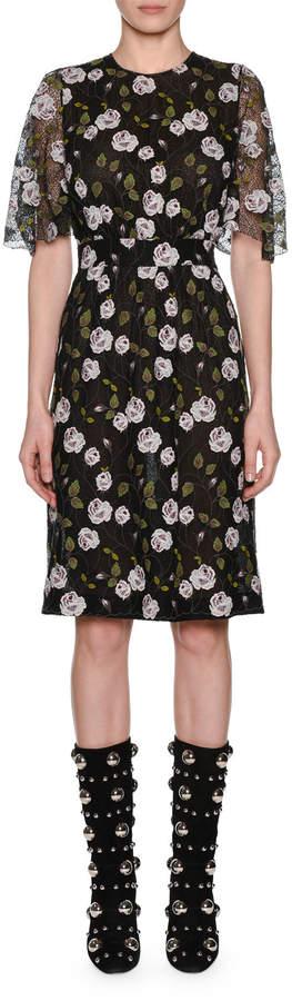 Giambattista Valli Crewneck Lace Short-Sleeve Floral-Print Pencil Dress