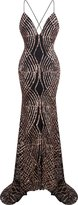 Angel-fashions Women's Spaghetti Strap Sequin V Neck Mermaid Long Ball Gown XLarge
