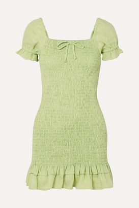 Faithfull The Brand Cette Shirred Linen Mini Dress - Lime green