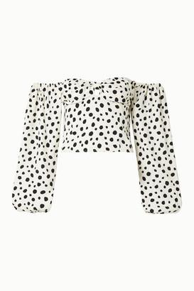 Reformation Simi Off-the-shoulder Shirred Polka-dot Crepe De Chine Blouse - White