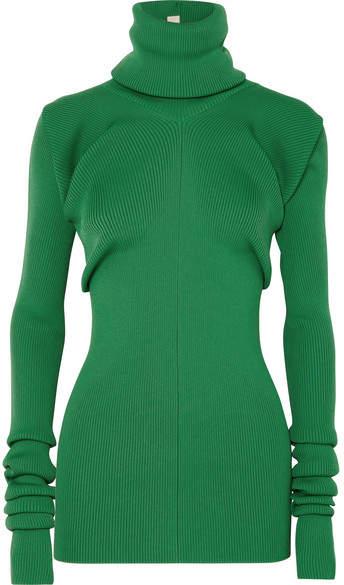 Marni Ribbed-knit Turtleneck Sweater - Green
