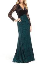 Tadashi Shoji Women's V-Neck Velvet & Illusion Gown