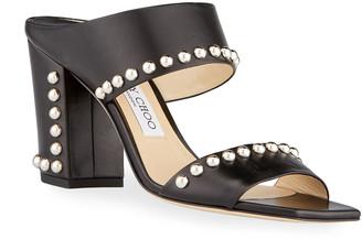 Jimmy Choo Matty Pearly Stud Slide Sandals