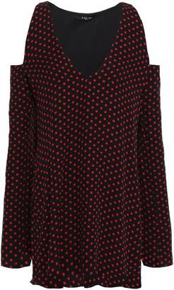 Amiri Cold-shoulder Polka-dot Silk-crepe Mini Dress