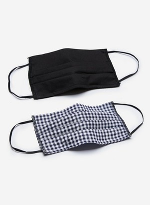 Dorothy Perkins Womens **Gingham And Black 2 Pack Reusable Face Coverings, Black