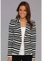 Calvin Klein Striped 1 Button Ponte Blazer (Eggshell/Black) - Apparel