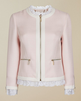 Ted Baker ENNIO Lace trim contrast crop jacket