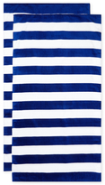 Horizontal Cabana Stripes Terry Velour Beach Towel (Set of 2)