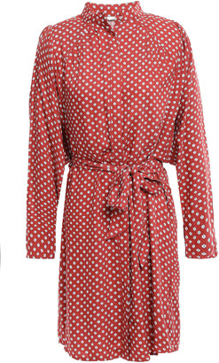 Joie Myune Belted Printed Twill Mini Shirt Dress