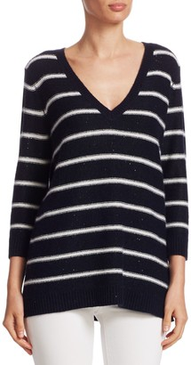 TSE Cashmere Striped Sequin Pullover
