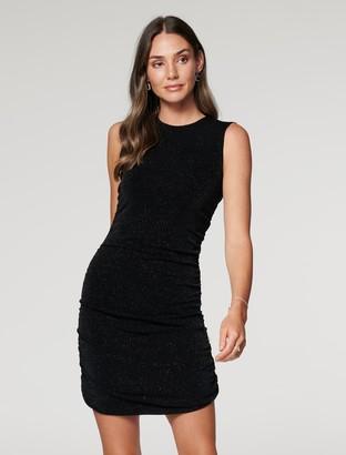 Forever New Beatrix Ruched Glitter Mini Dress - Black - 10