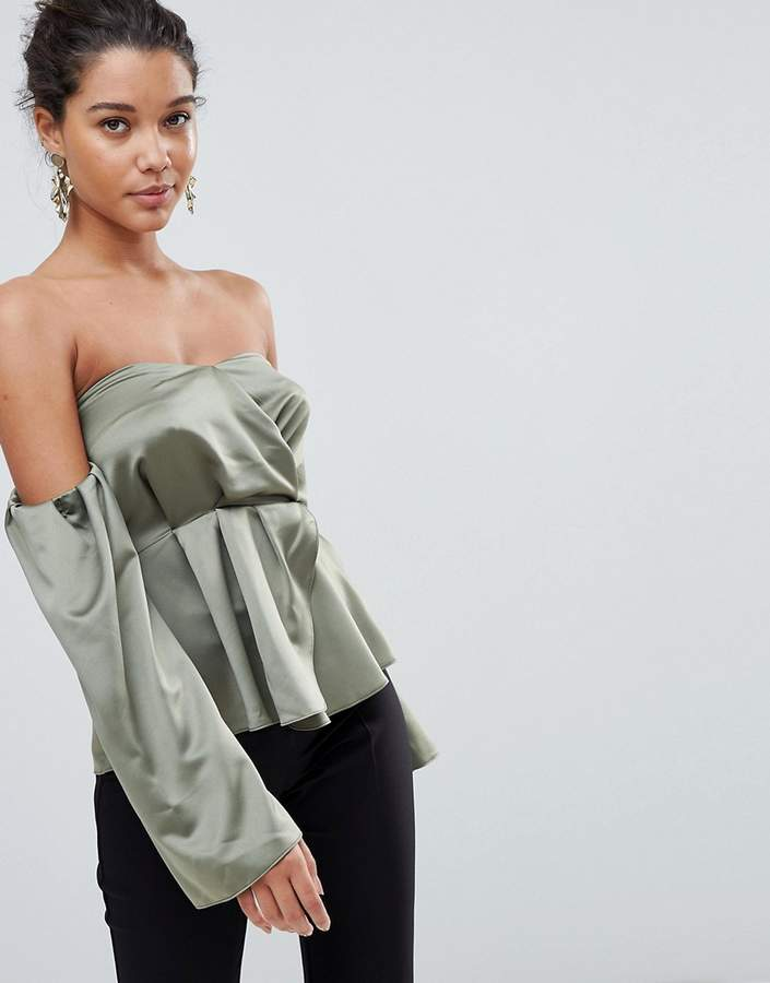 Asos Design Sweetheart Satin Top With Off Shoulder Detail
