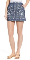 Women's Chloe & Katie Embroidered Denim Miniskirt