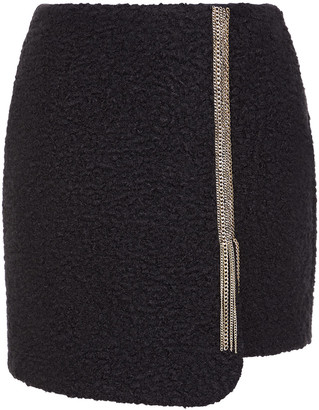 Just Cavalli Chain-embellished Boucle Mini Skirt