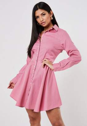 Missguided Pink Pearl Button Skater Shirt Dress