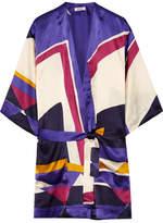 Eres Printed Silk-satin Robe - Purple