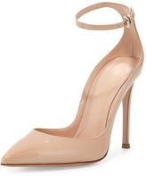 Gianvito Rossi Patent Low-Collar Ankle-Wrap Pump