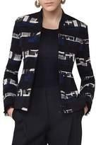 Akris Punto Zip-Up Tweed Bomber Jacket, Blue Pattern