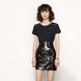 Maje Short patent leather skirt