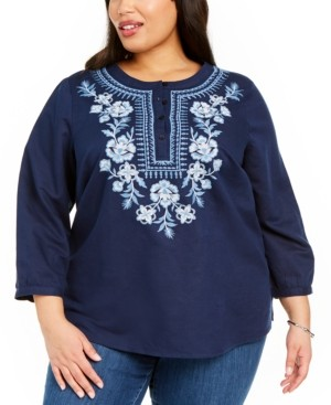 Charter Club Plus Size Embroidered Top, Created for Macy's