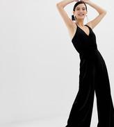 Miss Selfridge wide leg jumpsuit in black velvet