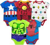 Marvel Baby Boys' 5 Pack Onesies - The Hulk, Spiderman, Iron Man and Captain America