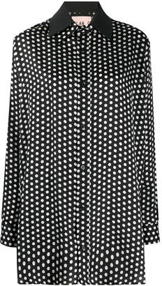 Plan C Oversized Fit Polka Dot Shirt