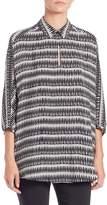Natori Printed Silk Collared Tunic - Black, Size x-small