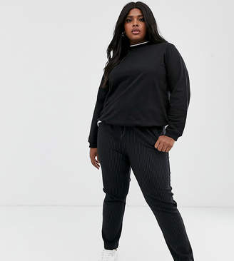Only Curve pinstripe relaxed jersey trouser-Black