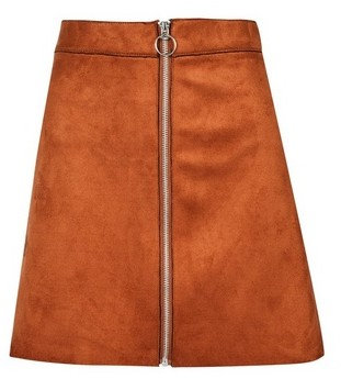 Dorothy Perkins Womens Only Rust Faux Suede Skirt