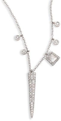 Meira T Dagger Diamond, White Topaz & 14K White Gold Pendant Necklace