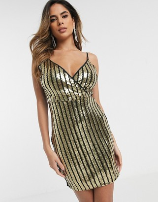 Parisian wrap front cami dress in sequin stripe