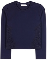 Tory Burch Lace-trimmed jersey sweater