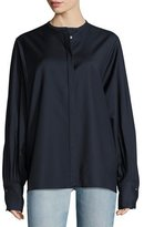 The Row Pani Jewel-Neck Pleated-Sleeve Blouse, Navy