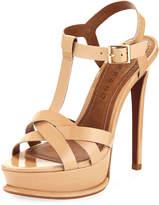 Carrano Justine Patent Leather Platform Sandal, Nude