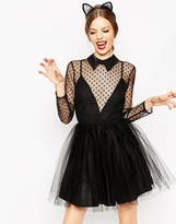 Asos Lace Netted Prom Mini Skater Dress