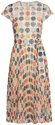 Akris Punto Wood Block-Print Sakura Dot Accordion Pleat A-Line Dress