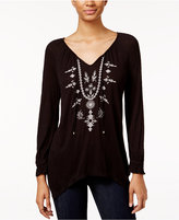 American Rag Embroidered Handkerchief-Hem Top, Only at Macy's